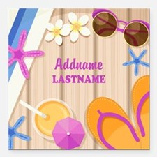 """Personalized Summer Girl Square Car Magnet 3"""" x 3"""""""