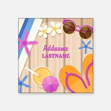"Personalized Summer Girly Square Sticker 3"" x 3"""