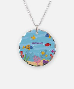 Ocean Aquatic Personalized Necklace Circle Charm