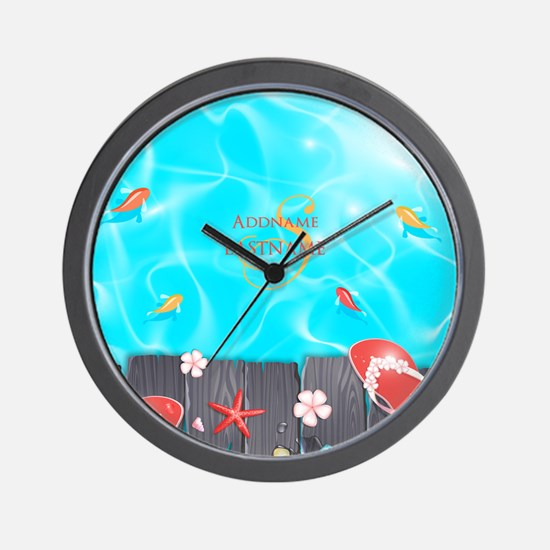 Summer Beach Flip Flops Starfish Person Wall Clock