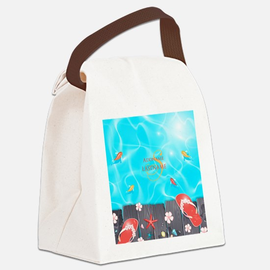 Summer Beach Flip Flops Starfish Canvas Lunch Bag