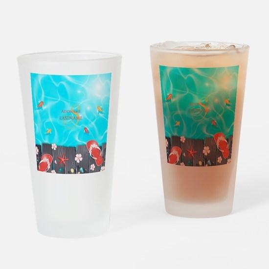 Summer Beach Flip Flops Starfish Pe Drinking Glass