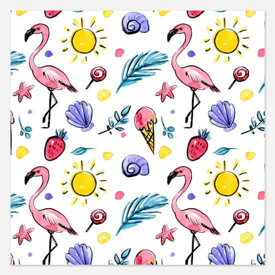 Flamingo Party Watercolor Invitations