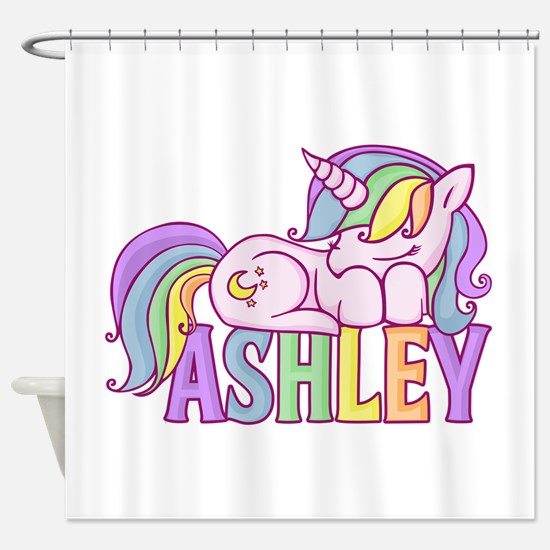 Ashley Unicorn Shower Curtain