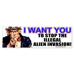 Stop Illegal Alien Invasion Bumper Bumper Sticker