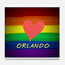 Love Orlando rainbow pride art Tile Coaster