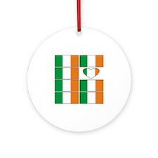Ireland Heart Flags Ornament (Round)