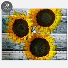 Rustic Sunflowers Blue Wood Puzzle