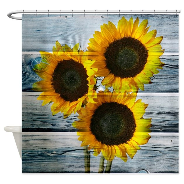 Rustic Sunflowers Blue Wood Shower Curtain By Printcreekstudio