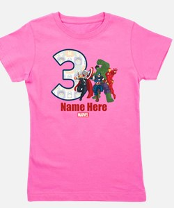 Personalized Avengers Birthday Age 3 Girl's Tee