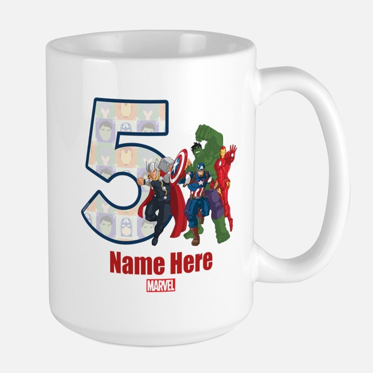 Personalized Avengers Birthday Age 5 Large Mug