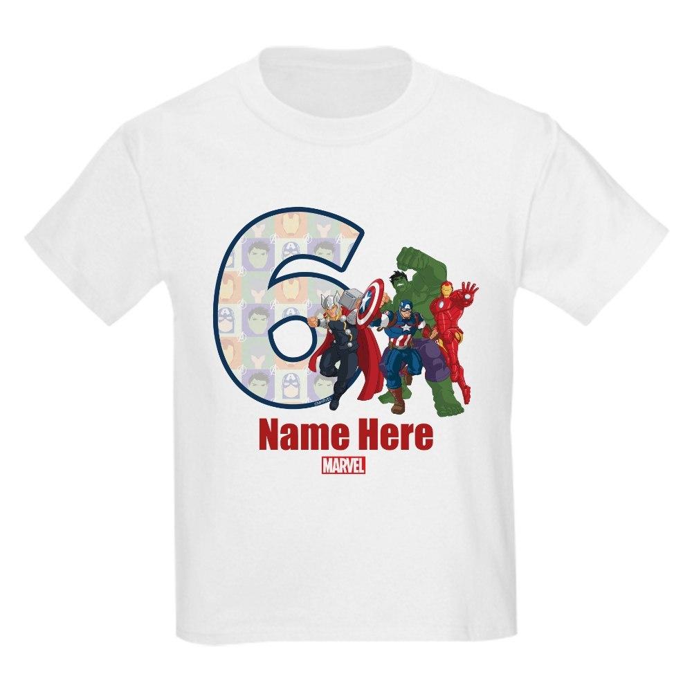 CafePress Personalized Avengers Birthday Kids Light T-Shirt