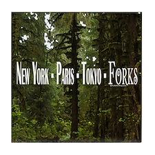 New York- Paris- Tokyo- Forks Tile Coaster