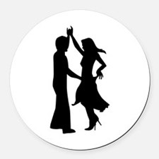 Standard dancing couple Round Car Magnet