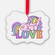 Funny Unicorn pooping rainbow Ornament