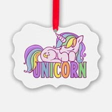 Cute Unicorn pooping rainbow Ornament
