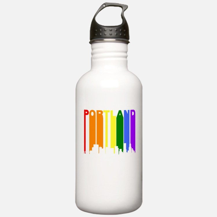 Portland Gay Pride Rainbow Cityscape Water Bottle