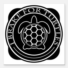 "Cute Turtle Square Car Magnet 3"" x 3"""