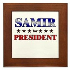 SAMIR for president Framed Tile