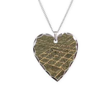 Vintage Pictorial Map of Hunt Necklace Heart Charm