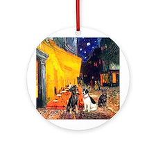 Cafe / 2 MinPins + Rat Terrier Ornament (Round)