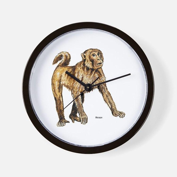Macaque Monkey Wall Clock