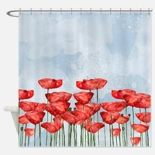 Poppyfield against the blue sky- wa Shower Curtain