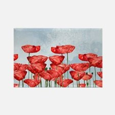 Poppyfield against the blue sky- watercolo Magnets