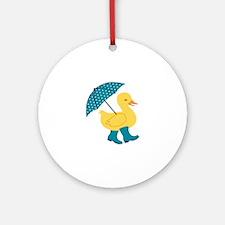 Rain Duck Round Ornament