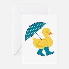 Rain Duck Greeting Cards