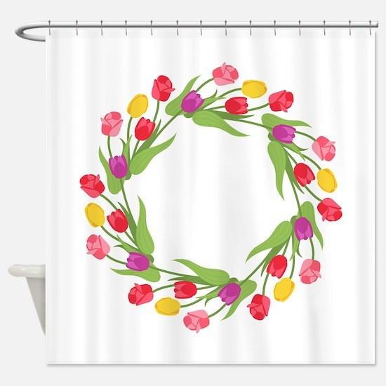 Tulips Wreath Shower Curtain
