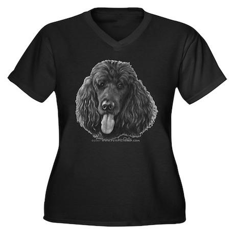 Shadow, Standard Poodle Women's Plus Size V-Neck D