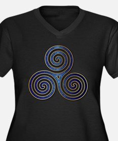 Celtic Triple Spiral in Deep Blu Plus Size T-Shirt