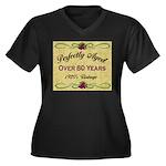 Over 80 Years Women's Plus Size V-Neck Dark T-Shir