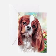 Cavalier King Charles Spaniel Painting Greeting Ca