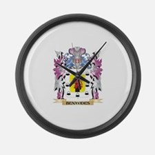 Benavides Coat of Arms (Family Cr Large Wall Clock