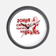 Cute Zombies love me for my extra brains Wall Clock