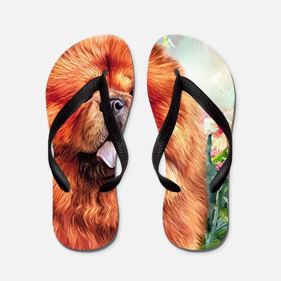 Chow Chow Painting Flip Flops