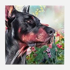 Doberman Painting Tile Coaster
