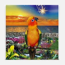 Sun Conure at Sunset Tile Coaster