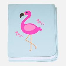 Pink Flamingo Hearts baby blanket