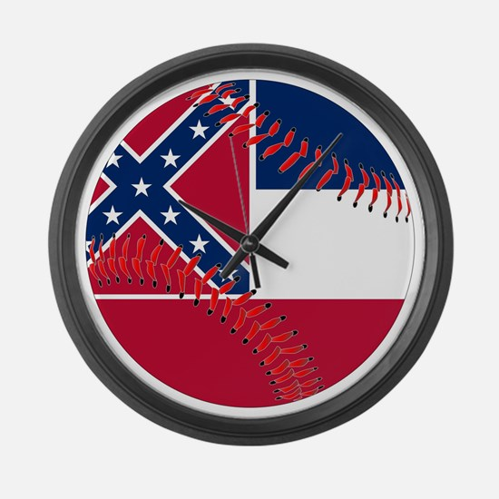 Mississippi Flag Baseball Large Wall Clock