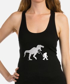 Gone Squatchin with T-rex Racerback Tank Top