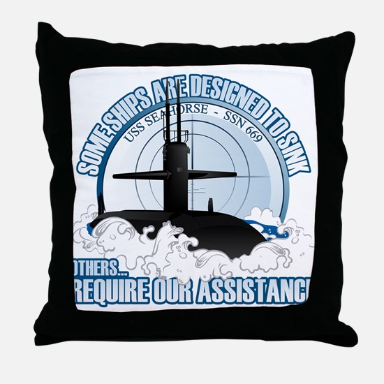 USS Seahorse - SSN 669 Throw Pillow