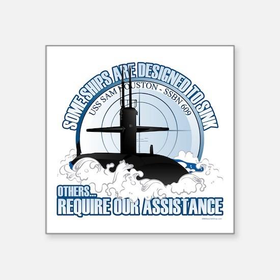 """USS Sam Houston SSBN 609 Square Sticker 3"""" x 3"""""""