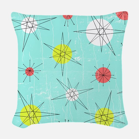 Atomic Era Art Woven Throw Pillow