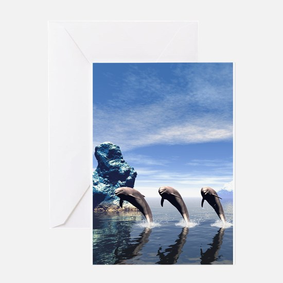Funny dolphin Greeting Cards