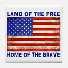 AMERICAN FLAG LAND OF FREE HOME OF BR Tile Coaster