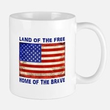 AMERICAN FLAG LAND OF FREE HOME OF BRAVE Mugs