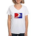 Major League Skiing  Women's V-Neck T-Shirt